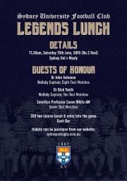 Legends Lunch - Saturday 15th June
