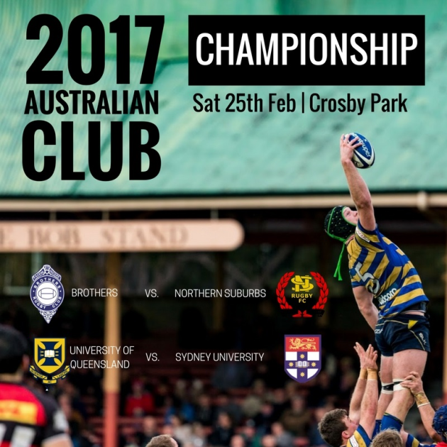 SUFC to take on University of Queensland Rugby in 2017 Australian Club Championship