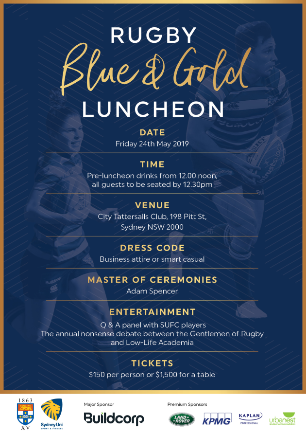 Blue & Gold Rugby Lunch - Friday 25th May