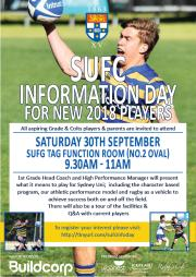 SUFC Information Day for new players