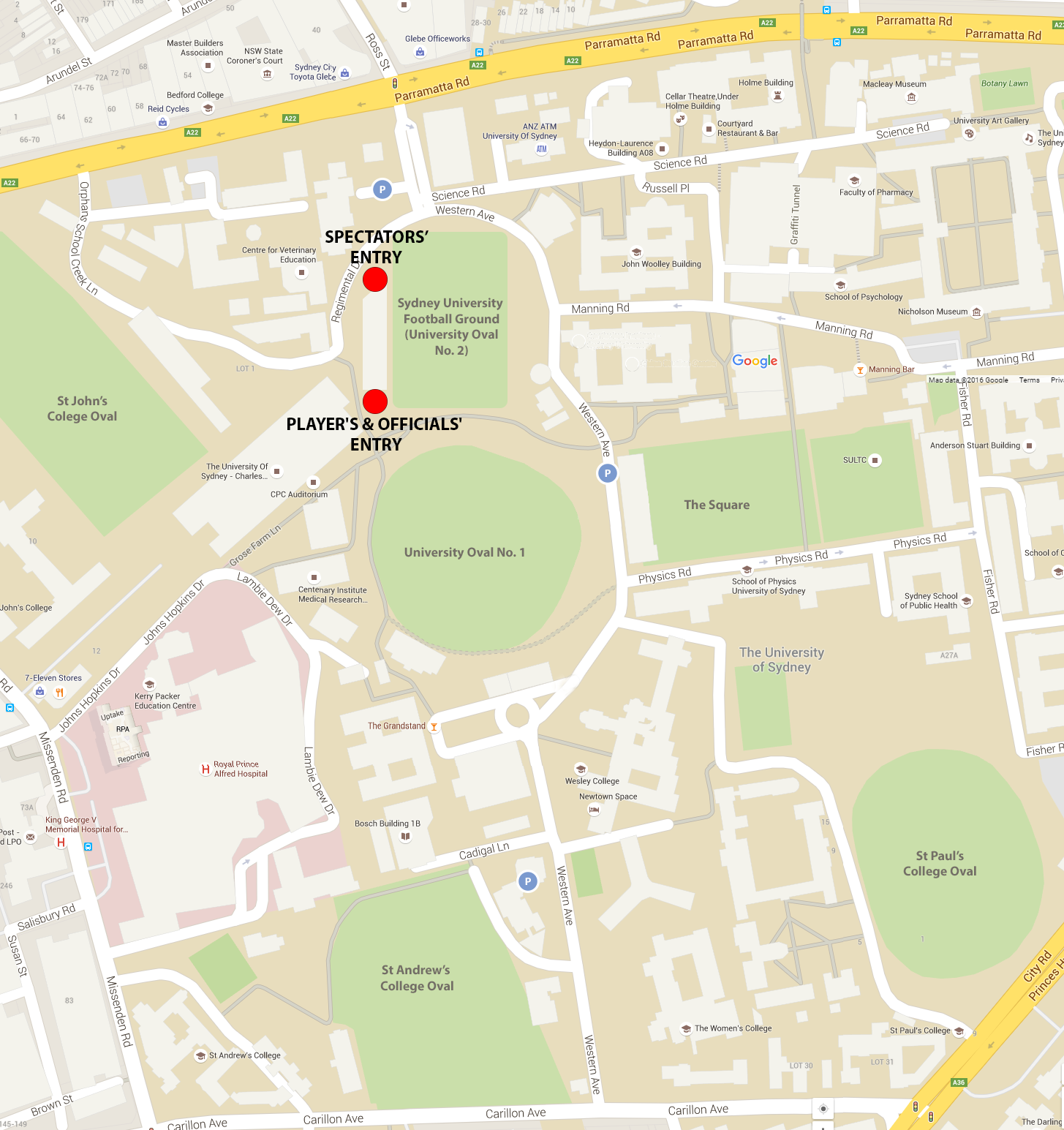Map of the University of Sydney, featuring the Sydney Uni Football Ground